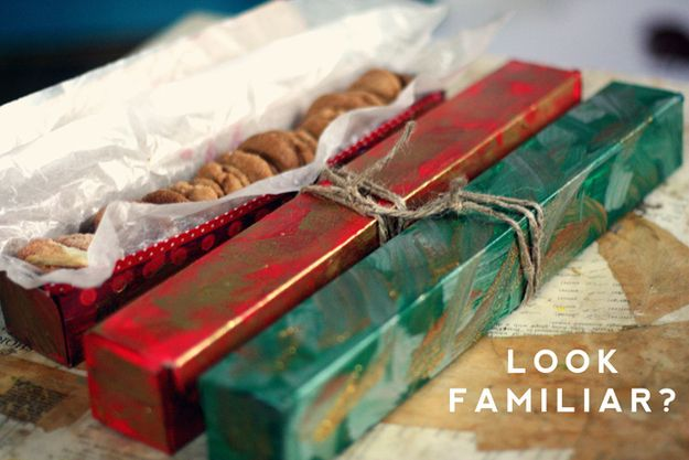 Give tinfoil boxes a makeover and use them for cookie gifting or storage. |  Kitchen hack