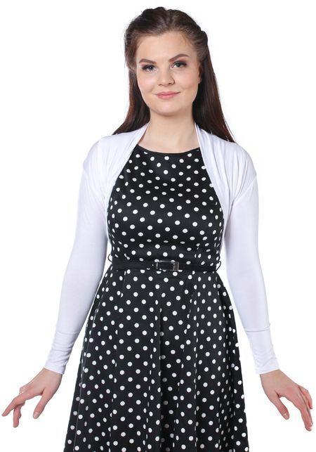 Frida White Bolero, shrug by Banned  www.misswindyshop.com   #shrug #bolero #white #wearwithdresses #polkadotdress #longsleeve #vintagestyle