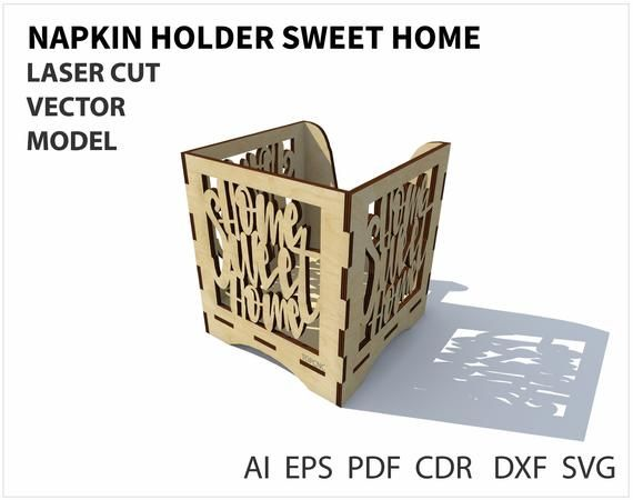 Napkin holder vector file. Template for laser cutting napkin holder. Laser cut project plan. Instant download. laser cut the holder napkins