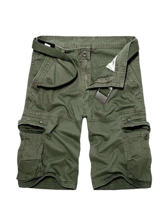 Casual Loose Fit Multi-Pockets Zip Fly Solid Color Cargo Shorts For Men - ARMY GREEN 40