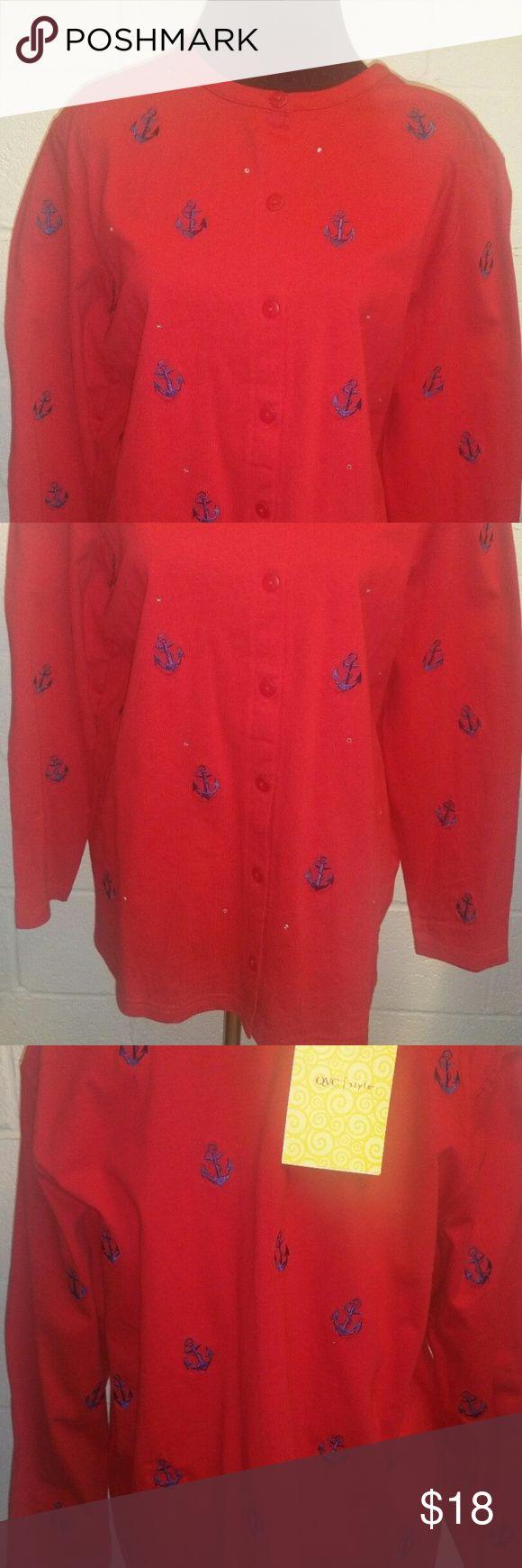 NWT Quacker Factory QVC Cardigan NWT  Quacker Factory  QVC  Knit Top  Nautical Cardigan  Red w/ Blue Anchors   Rhinestones 100% Cotton Size 1X Quaker Factory Sweaters Cardigans