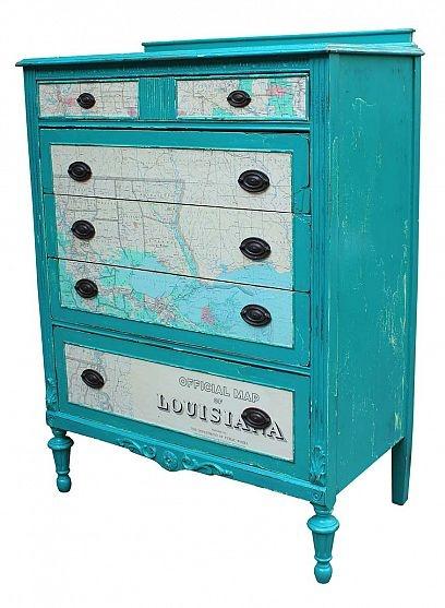 Upcycled Dresser Using 1965 Louisiana Map