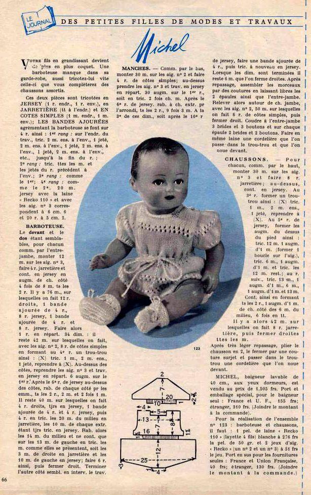 PAR AMOUR DES POUPEES :: M&T 1955-03 Barboteuse et chaussons pour Michel (tricot)
