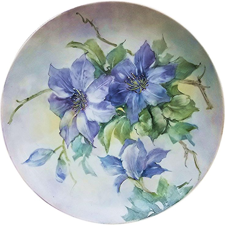 Stunning Bavaria 1900's Hand 'Rhapsody Lavender Clemantis' 10-1/8' Floral Plate