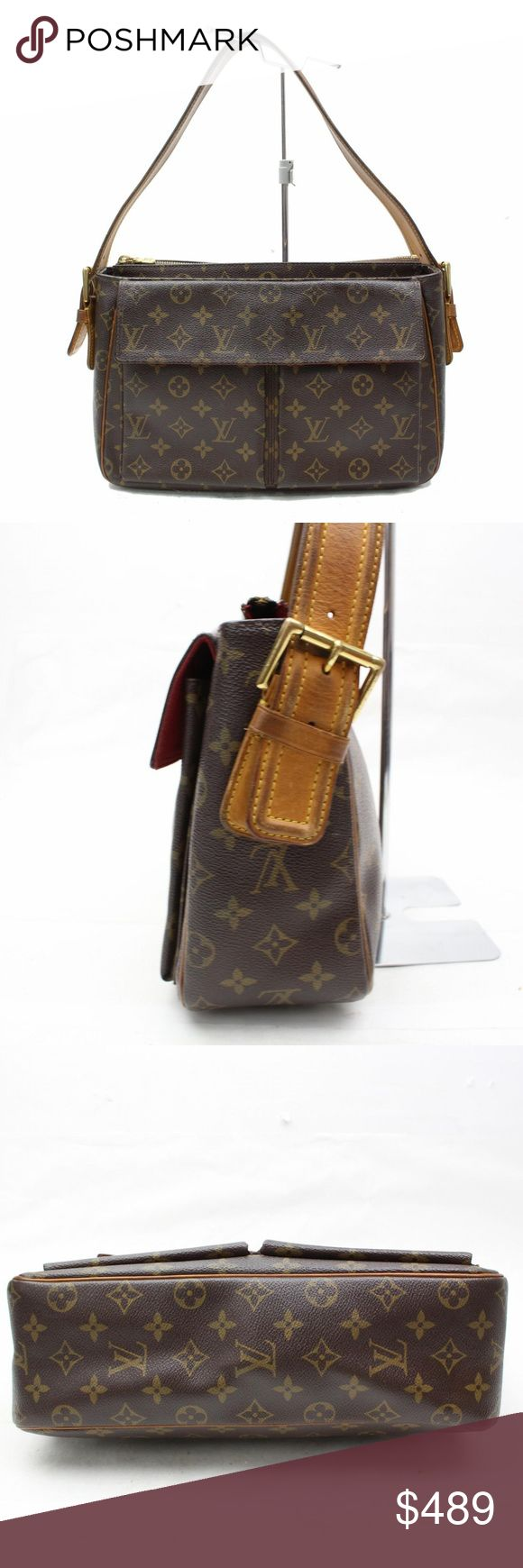 Louis Vuitton Viva Cite GM Shoulder Bag 10750 Outside: Minor rubs and stains on the leather parts.   Shoulder: Minor rubs on the edge of shoulder strap. Noticeable spots on a part of shoulder strap.  Bottom: Minor stains on the leather of the bottom parts.  Inside: Noticeable rubs and stains on the edge of the upper parts. Minor stains partially.  Zipper works properly.  Metal: Minor tarnish on the almost of all metal parts. Minor storage odor.  H: 8.26 W: 12.2 D: 3.93 Shoulder: 22.44 - 25.2…