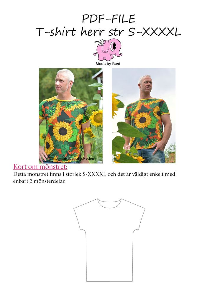 PDF-mønster/pattern: T-shirt male size S-XXXXL – Made by Runi