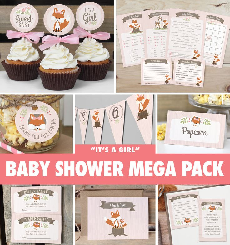 Girl Woodland Baby Shower Mega Pack // by ThePrettyPaperStudio