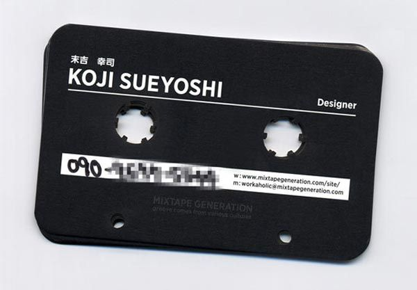 music tape business card