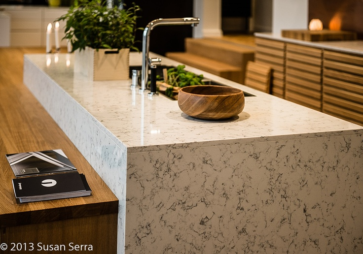 Neutrals used in an exciting way on this modern kitchen display in Copenhagen