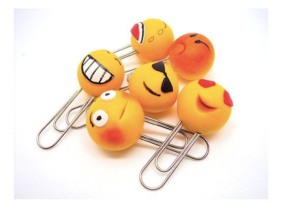 Smiley  Paperclips in Polymer clay by SmallIdea on Etsy