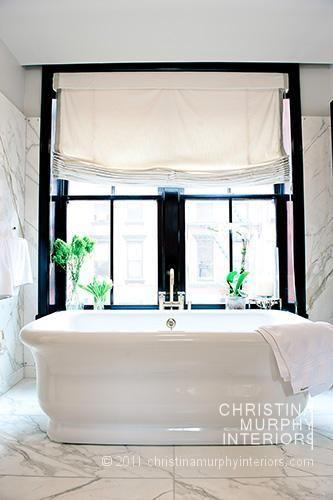 lighting is everything!Bath Tubs, Black And White, Bathroom Black, Dreams Bathroom, Master Bath, Black Windows, White Bathroom, Steel Windows, Windows Treatments