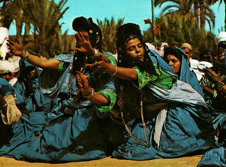 """Africa   """"Picturesque Morocco; Guedra Dance, Goulimine""""  Post stamped 1966.   Scanned postcard; publisher Bertrand, Marrakech.  No. 38"""