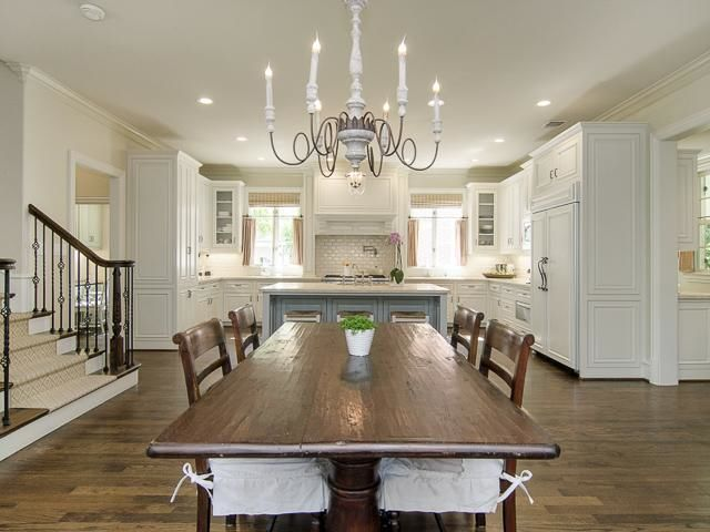 Center Large Dining Table With Island And Semi Circle Kitchen Layout Kitchen Pinterest