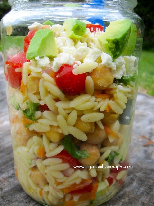 Office Lunch: Picnic Orzo Salad   1/2 pound orzo pasta  1 pound grape or cherry tomatoes, sliced  2 large carrots, shredded  1 cucumber diced  1 can of garbanzo bean rinsed and drained  1/3 cup finely chopped red onion  1/4 cup fresh cilantro, chopped  1/4 cup fresh parsley, chopped  1/4 cup fresh basil, chopped  1 avocado, diced