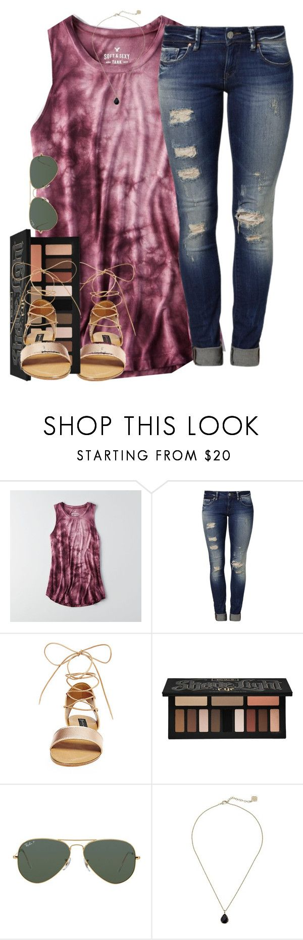 """""""Sunny and 75"""" by emmagracejoness ❤ liked on Polyvore featuring American Eagle Outfitters, Mavi, Steve Madden, Kat Von D, Ray-Ban and Kendra Scott"""
