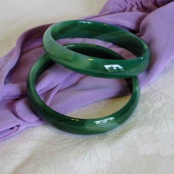 2 Vintage GLASS BANGLE BRACELETS Jade Green Color by AzaleaTrail, $27.95