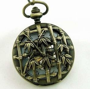 Antique Skeleton Classic Steampunk Pocket Watch With Chain Vintage Bamboo Mechanical Pocket Watches