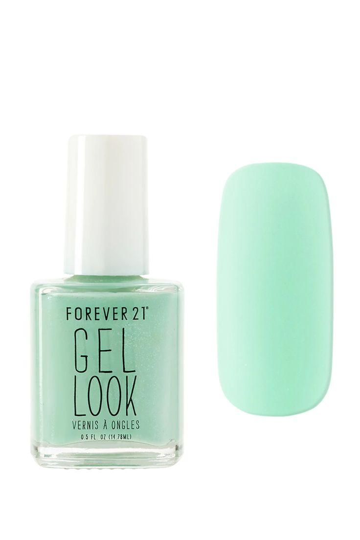 A gel look polish in a light green shade.