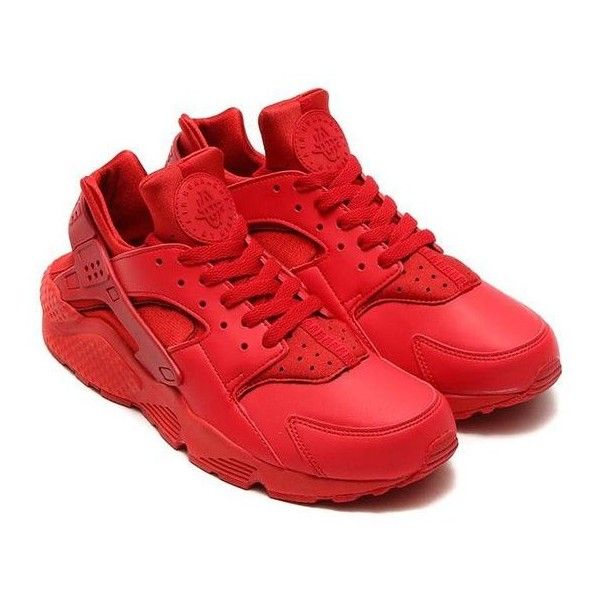 """Sneaker News on Instagram: """"All-red Huaraches are coming soon. Don't... ❤ liked on Polyvore featuring shoes, sneakers, red trainer, checkered shoes, red shoes, checkered sneakers and red sneakers"""