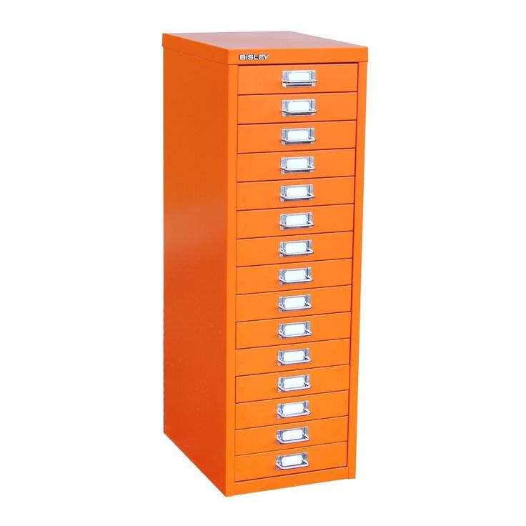 39 Series 15 Drawer orange-red Bisley filing cabinet