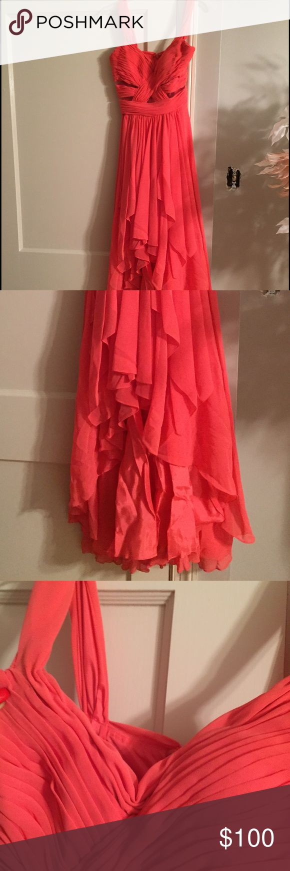 """Coral gown Cache coral high low gown. Size 2. Worn twice. Hemmed to my height (5'3""""). V neck altered to be less deep. Beautiful gown, great condition! Cache Dresses Maxi"""