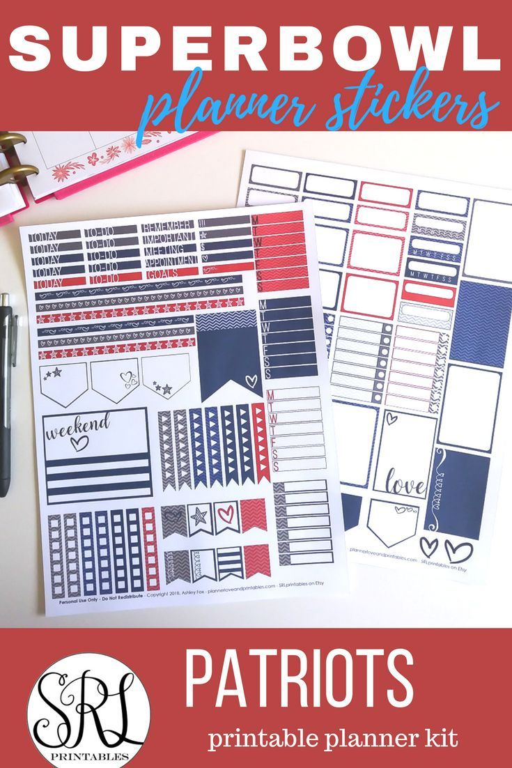 Patriots Superbowl Planner Printables Full Weekly Kit In Patriots Colors Click Through For Pretty Planner Printables Printable Planner Free Planner Stickers