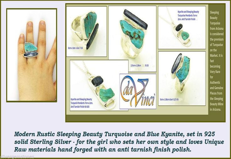 Turquoise RIng Sleeping Beauty Turquoise Hand Forged Sterling Silver Ring $149 for either the ring or Pendant- chain not included- Free Shipping in Australia. $15 International shipping
