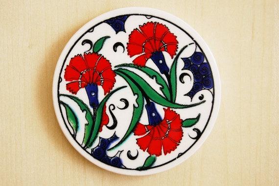Turkish Ceramic Cup Coaster by TheGrandBazaar on Etsy, $3.00