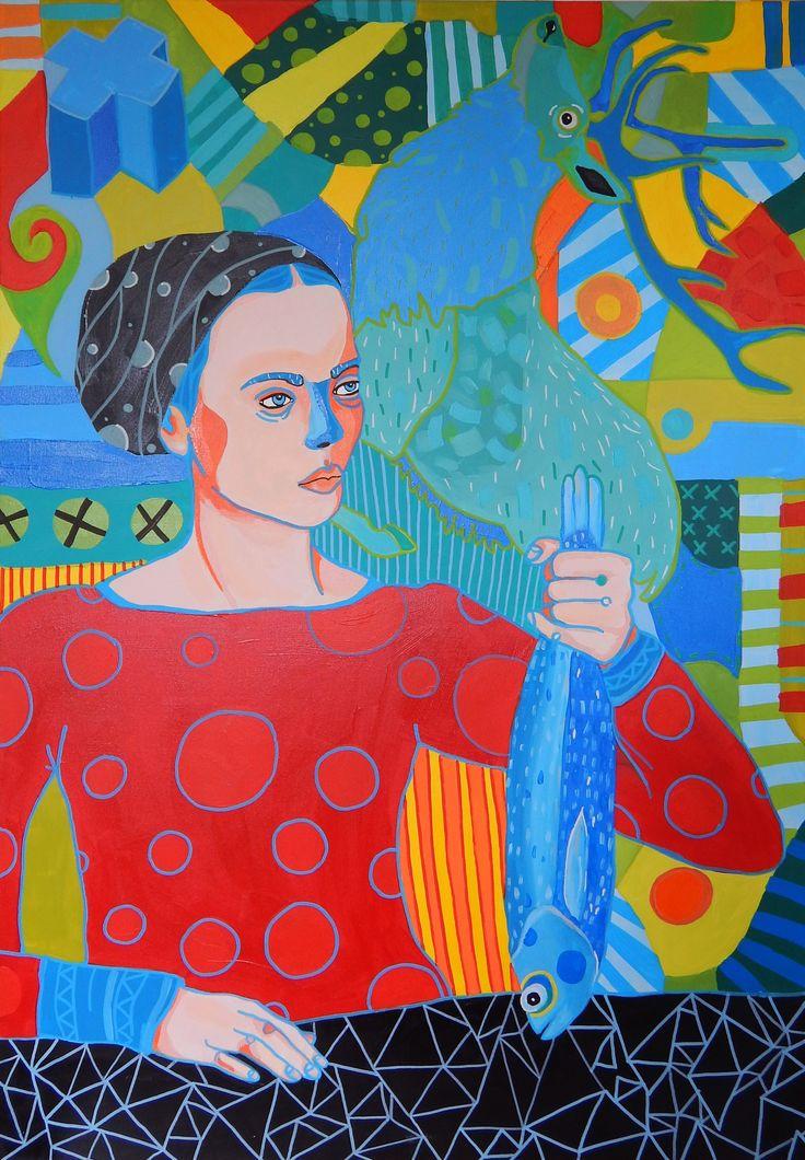 Marcin Painta, Ona i Ryba (2015)  #painting #art #artmarket #limitededition #artistoftheday #fineart #buyart  #popart #polishart #fish