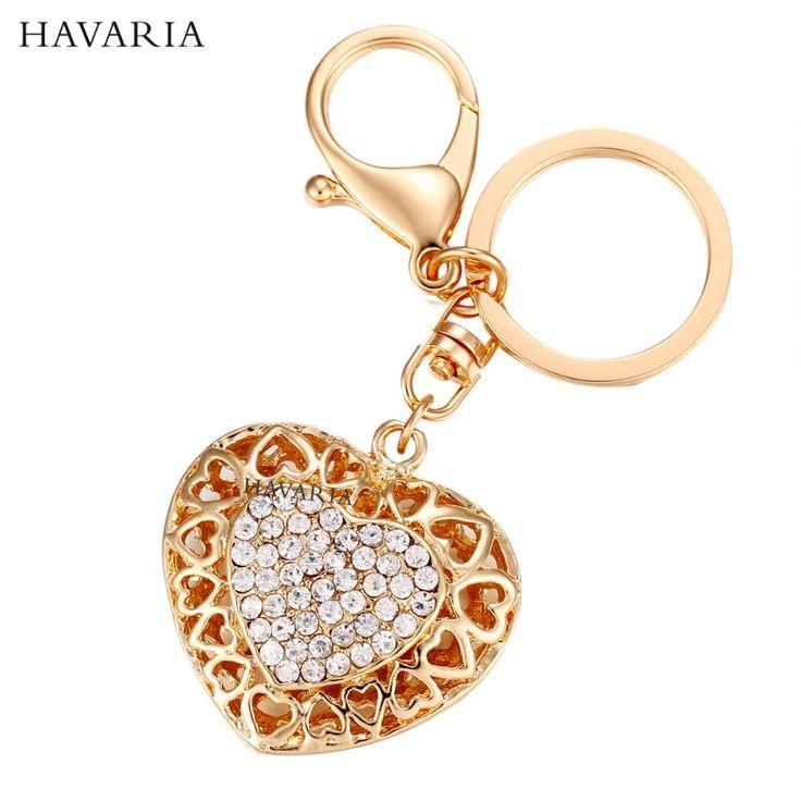 Marques HAVARIA Coeur Strass Femmes Porte-clés Sac pendentif Clé De Voiture Chaîne Anneau Porte-clés Bijoux Exquis Cadeau ax-002