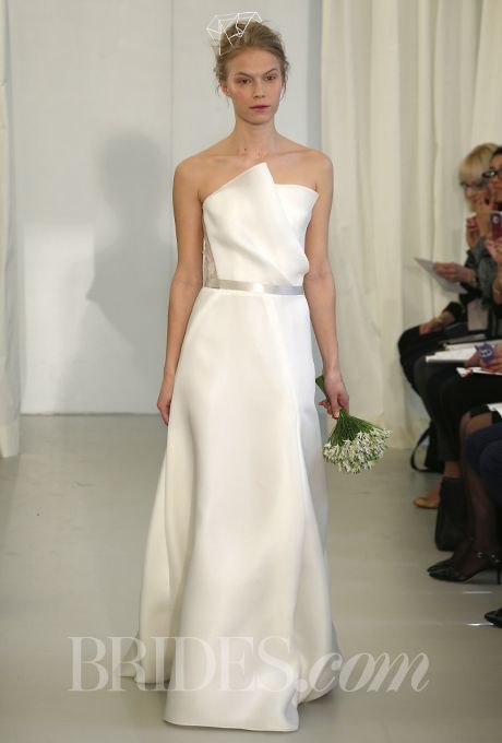Brides.com: Spring 2014 Wedding Dress Trend: Sleek and Modern. Style N10005, strapless organza jacquard A-line wedding dress with stone trimming on bodice and waist, Angel Sanchez  See more Angel Sanchez wedding dresses.