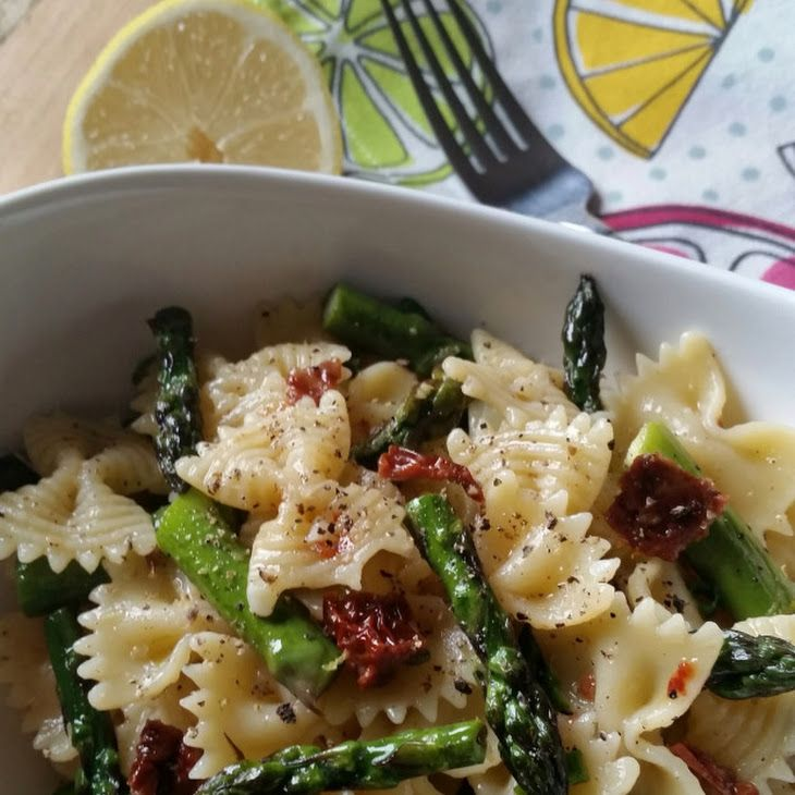 Roasted Asparagus Lemon Butter Pasta Salad Recipe Salads with fresh asparagus, bow-tie pasta, sun-dried tomatoes, lemon, butter, olive oil, salt, pepper, green onions