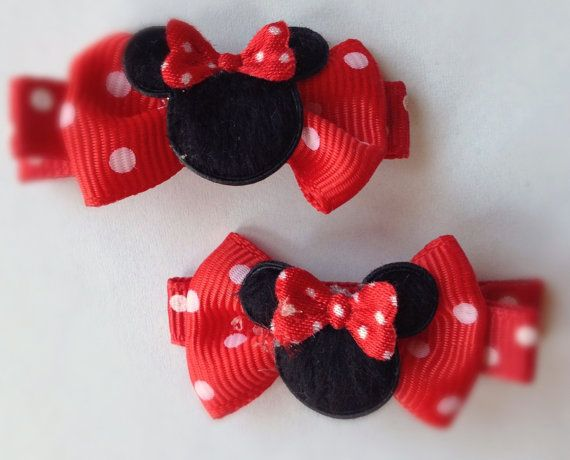2 Boutique Girl Hair Clips Minnie Mouse Red Dots
