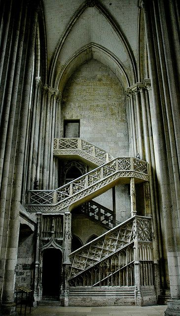 """""""Gothic staircase, France"""" Beautiful greys - would be good on my stairs board also."""