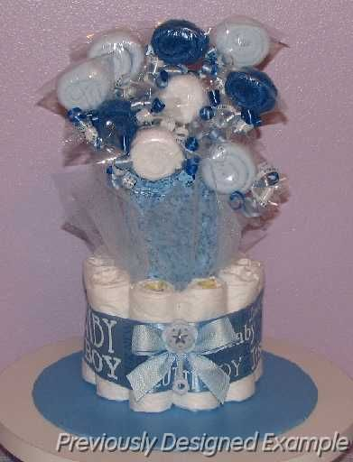 Diaper Bouquet with wash cloth lollipops.   But...use cake pops or Oreo cookie pops!!!