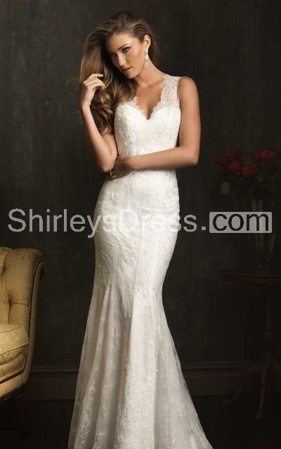 Delicate Cap-sleeved V-neck Slim-line Lace Applique and English Net Wedding Gown