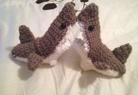 Baby Shark Socks - Baby Shark Slippers - Shark Baby Booties - Made-to-Order - 0-9 months