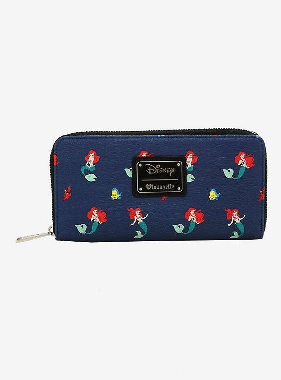 $ New LOUNGEFLY DISNEY Coin Bag Pouch Purse LITTLE MERMAID ARIEL FLOUNDER Blue