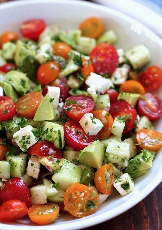 Tomato, Cucumber, Avocado Salad   Food Recipes