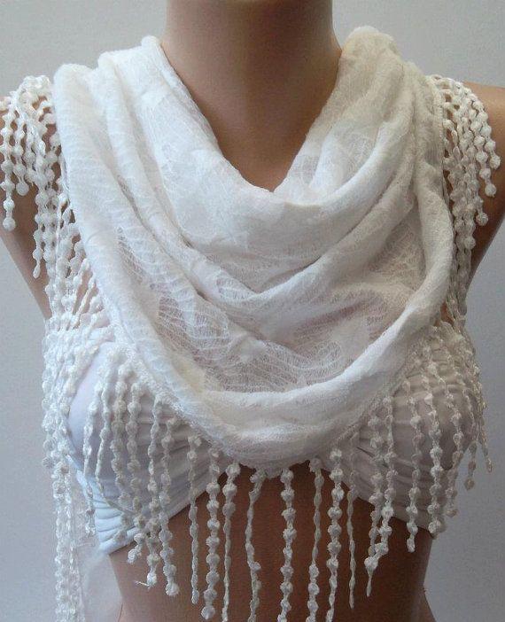 White  Elegance Shawl / Scarf by womann on Etsy, $17.90
