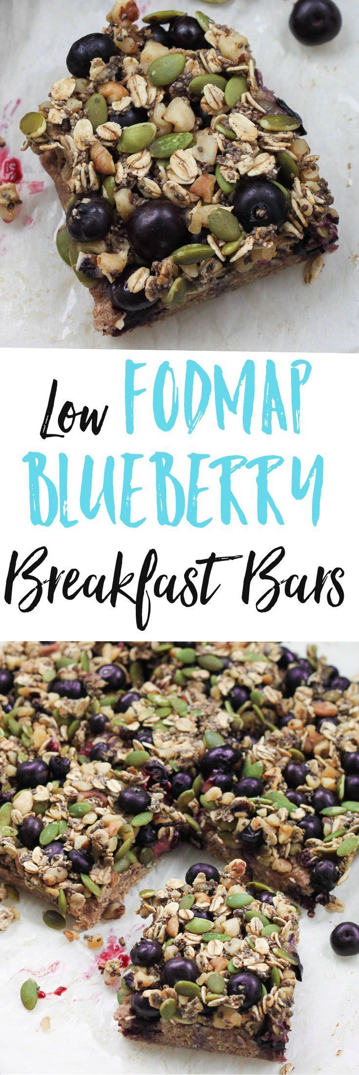 Your IBS elimination phase is easy with these Low FODMAP Blueberry Breakfast Bars, which can also easily be made vegan and gluten free. via @euphorianutr