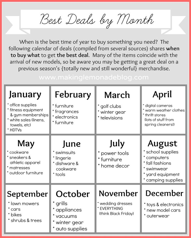 Best Deals by Month Calendar: save TONS of money with this free printable that tells you what typically goes on sale and when. Get the free printable deal calendar here: www.makinglemonadeblog.com #printable #budget #savingmoney