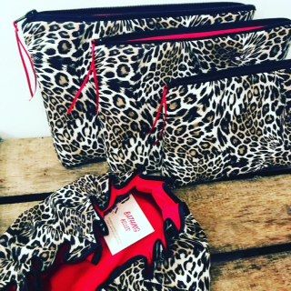 Luxurious Leopard and shower caps and wash bags from the BathingBellesStore on Etsy