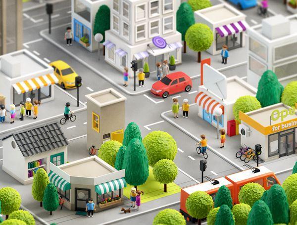 A Anna Paschenko tem um portfólio muito bacana, mas dentre os seus trabalhos, eu destaco esse feito para a agência Loud&Clear que solicitou uma cidade em 3D para ser usada em um aplicativo. O r…
