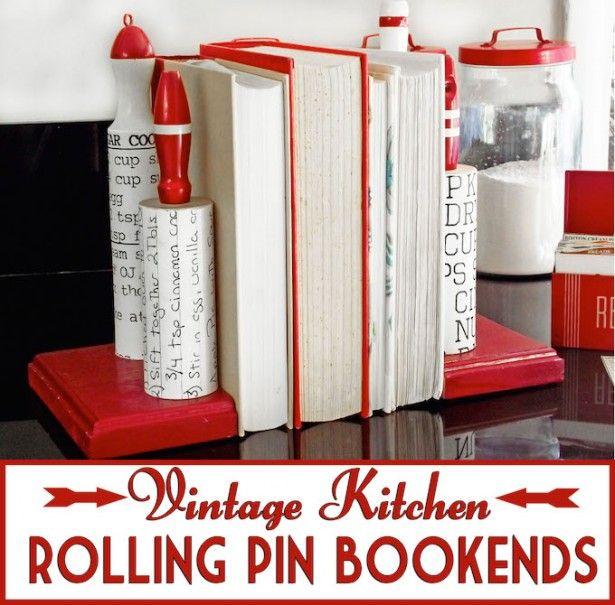 Vintage kitchen rolling pin diy bookends vintage kitchen for Mason jar bookends