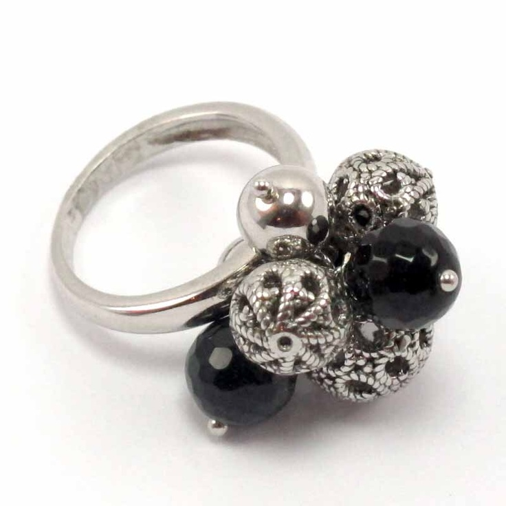 $64.90 Silver and onyx ring