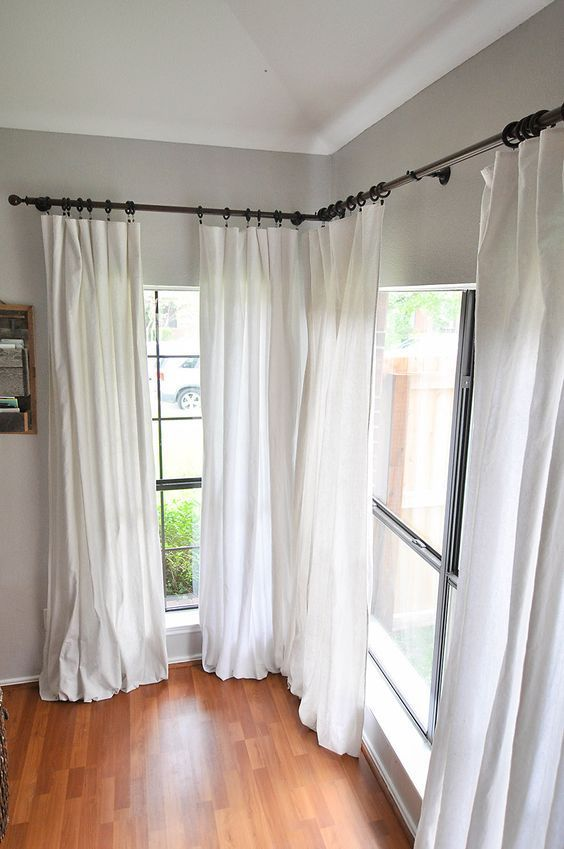 how to make diy no sew bleached drop cloth curtains without making your house smell like a pool. Black Bedroom Furniture Sets. Home Design Ideas