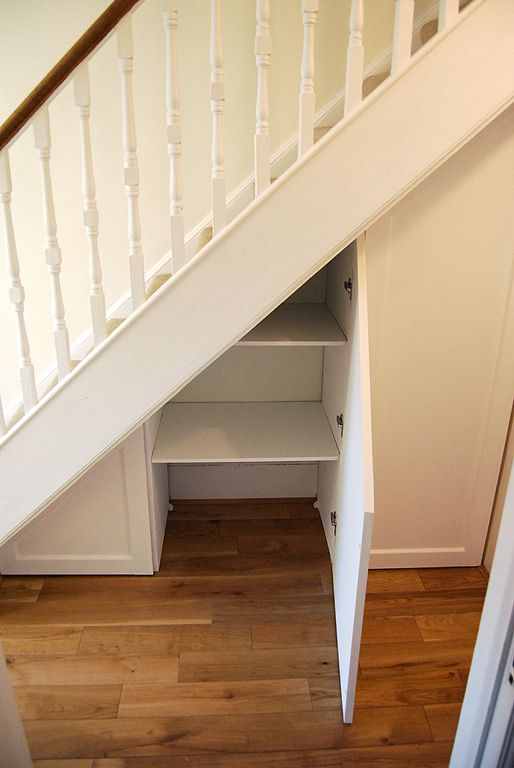 I envisage something like this for under the stairs (downstairs). The taller section could house golf clubs, finally a spot for them!