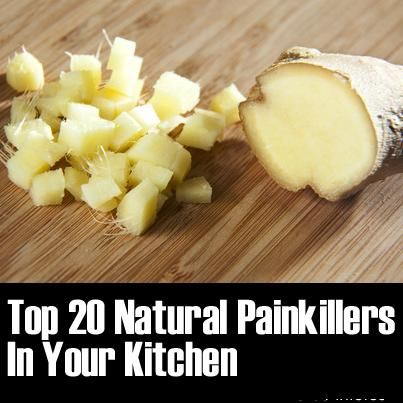 Top 20 Natural Painkillers List  Ginger (add to 1-2 teaspoons daily to diet for general muscle pain) Cloves (chewed gently for toothache / gum inflammation) Apple Cider Vinegar (1tbsp mixed with water before meals for heartburn) Garlic (made into a special oil for earache – recipe at the original article) Cherries (joint pain, headaches – 1 bowl per day)