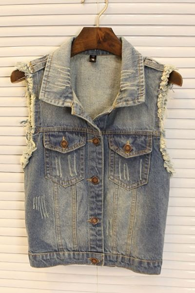 Vintage Cropped Denim Vest With Rips OASAP.com